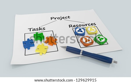 paper document with a project diagram and icons (3d render) - stock photo