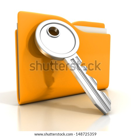 paper documents ywllow folder with key - stock photo