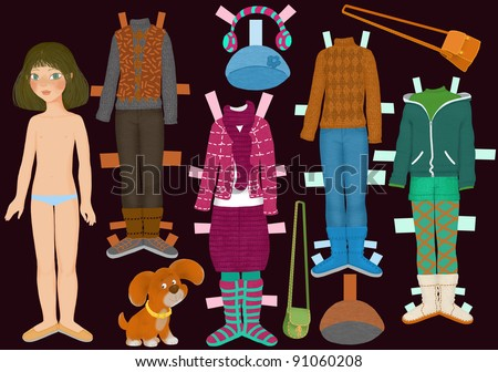 paper doll Lisa and her clothes fall - stock photo