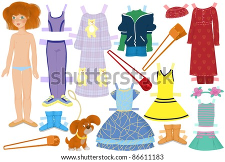 paper doll named Katie and summer clothes for her - stock photo