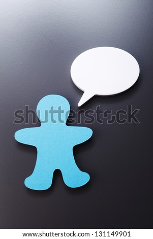 paper doll with speech bubble