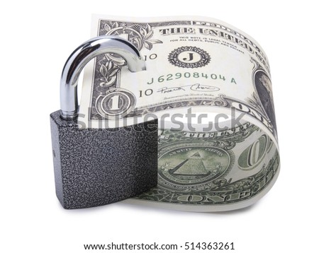 Paper dollars and lock on a white background