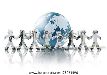 paper dollars people standing around  holding hands - stock photo