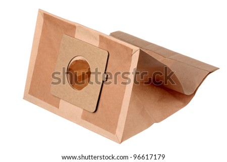Paper dust bag for vacuum cleaner isolated on a white background