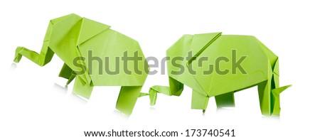 paper elephant in love  - stock photo