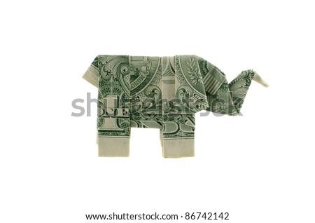 Paper Elephant Origami One Dollar Isolated Stock Photo Royalty Free