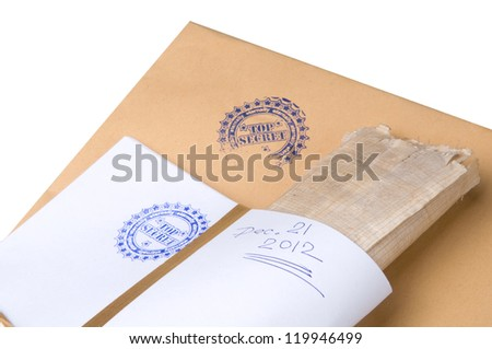 "paper envelope stamped ""Top Secret"",concept on classified material on December 21, 2012 - stock photo"