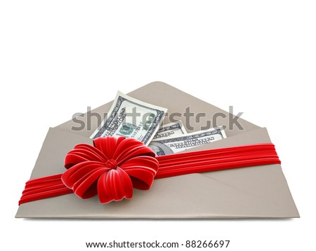 paper envelope with a red ribbon and bow. isolated on white.