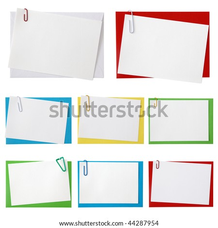 Paper envelopes with blank note on white - stock photo