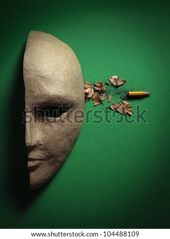 Paper Face Mask With A Shot In The Head The Bullet In The