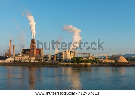 Paper factory on the St. Charles River, Quebec City, Canada
