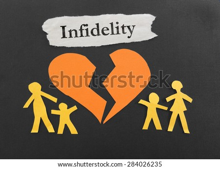 Paper family and a broken heart with Infidelity message                                - stock photo