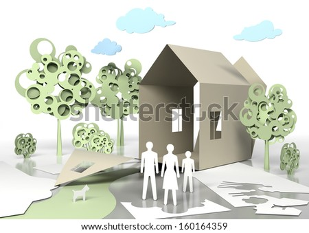Paper Family and paper house. Conceptual 3d illustration. - stock photo