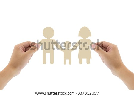 Paper family in hand isolated on white background, concept. paper family in the hands, clipping part