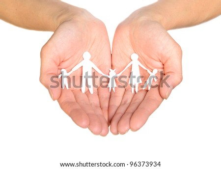 Paper family in hands isolated on white background - stock photo