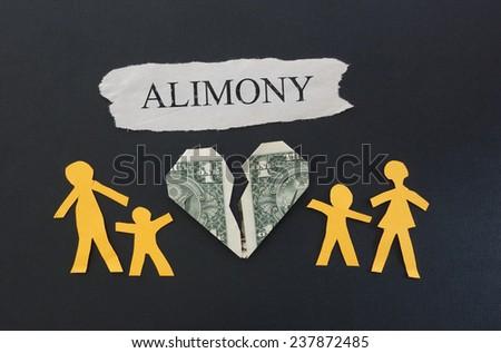 Paper family split between broken dollar heart with Alimony text                               - stock photo