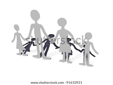 paper family trimmed - stock photo