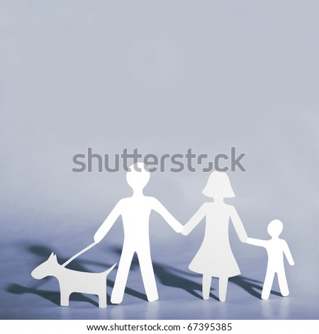 Paper family with dog - stock photo