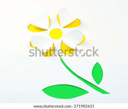 Paper flower as greeting card - stock photo