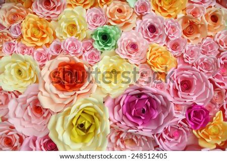 Paper flower backdrop wedding wallpaper - stock photo