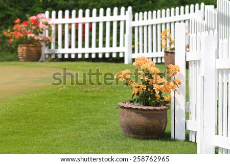 Paper flower  in pot against the white fence - stock photo