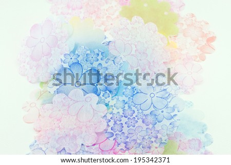 Paper Flowers texture on white background - stock photo