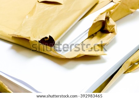 paper for printing on the table - stock photo