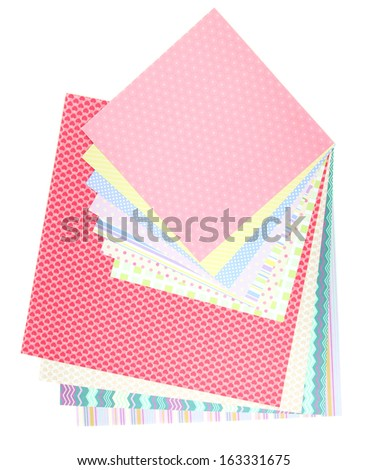 Paper for scrapbooking, isolated on white - stock photo