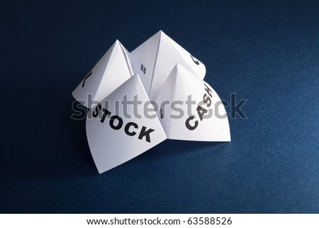 Paper Fortune Teller, Cash; Stock, concept of business decision - stock photo