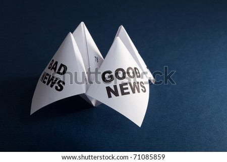 Paper Fortune Teller, Good News; Bad News, concept of business decision - stock photo