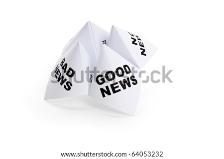 Paper Fortune Teller, Good News; Bad News; No News, concept of business decision - stock photo