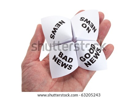 Paper Fortune Teller, Good News; Bad News; No News; News, concept of business decision - stock photo