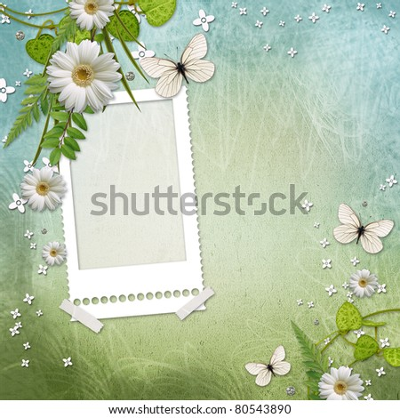 paper frame with beautiful daisy and butterfly
