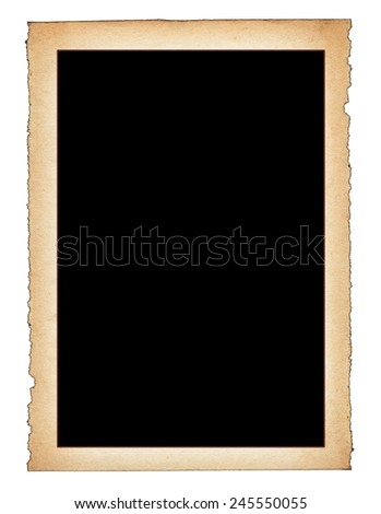 paper frame with frayed edges isolated on white background - stock photo