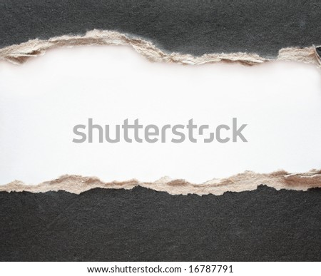 Paper frame with the fragmentary edges, punched in a cardboard - stock photo