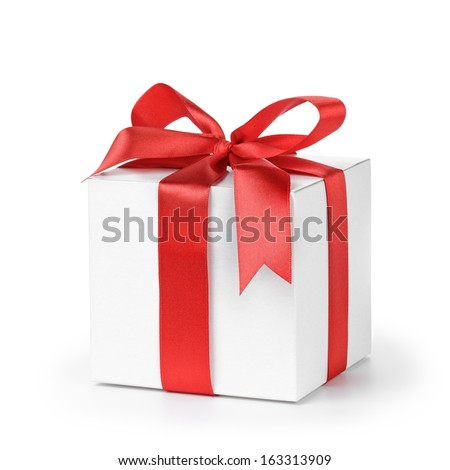 paper gift box wrapped with ribbon, isolated on white - stock photo