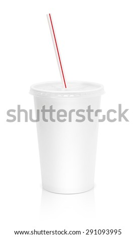 Paper glass beverage packaging with straw isolated on white background