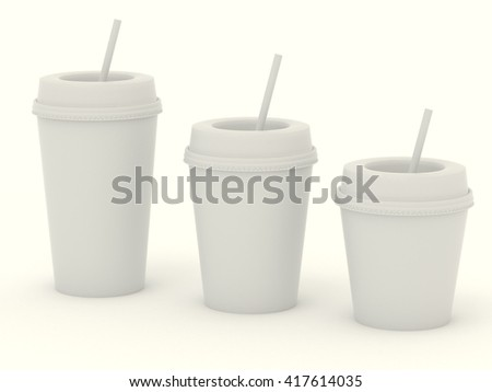 Paper group white cups with a straw. Carton cup with white blank for design. High resolution 3d illustration