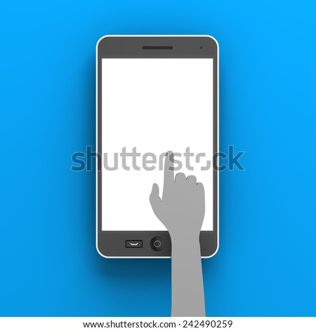 Paper hand clicking a smartphone with copyspace, 3d render - stock photo