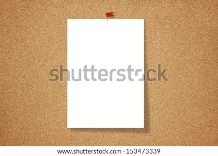 Paper hang on a cork board. - stock photo