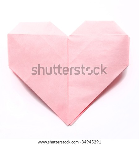 paper heart isolated on white - stock photo