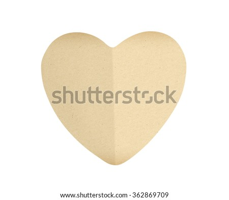 paper heart isolated on white background - stock photo