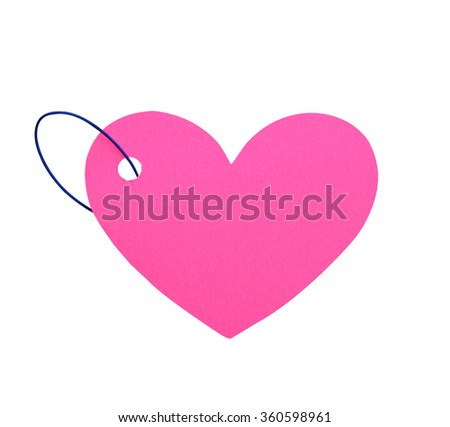 Paper heart with rope isolate (clipping path) - stock photo