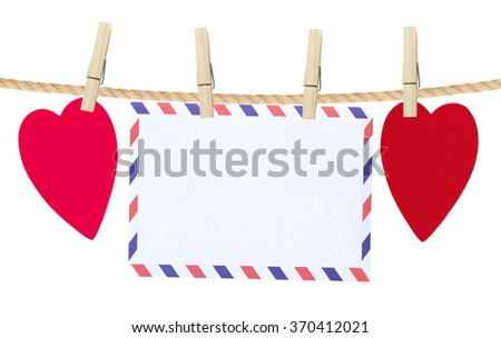paper hearts and card on rope, isolated on white - stock photo