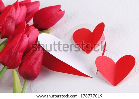 Paper hearts with flowers close up - stock photo