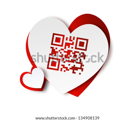 paper hearts with QR code - I love you - stock photo