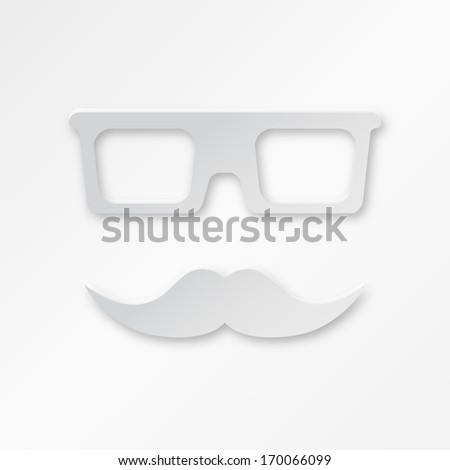 Paper Hipster Background With Glasses And Mustache - stock photo