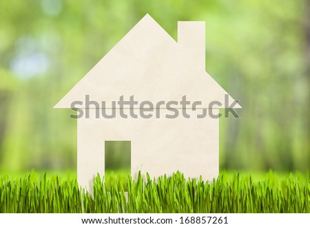 Paper house on green grass concept - stock photo