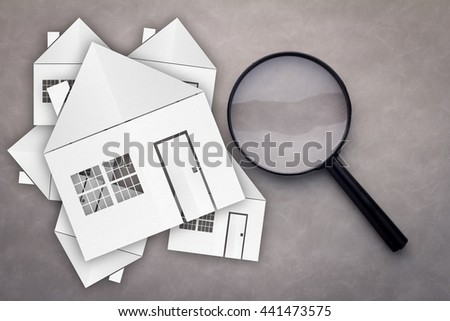 paper house with Magnifying Glass, House hunting on GREY background - stock photo