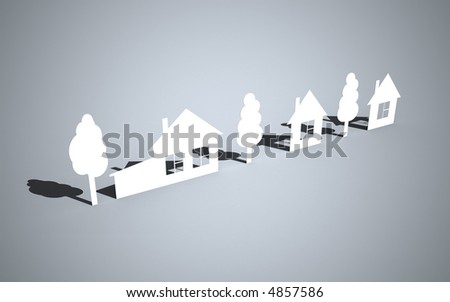 Paper houses and trees - stock photo